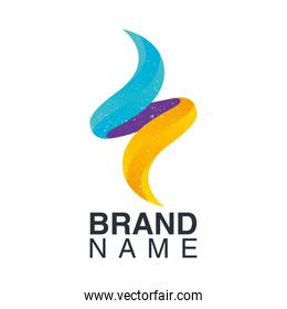 brand name emblem with colors flames