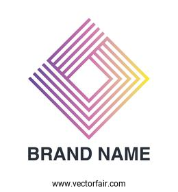 brand name emblem with abstract diamond