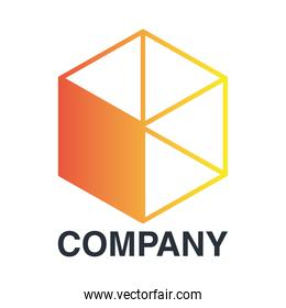 company emblem with orange cube