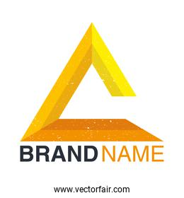 brand name emblem with yellow triangle