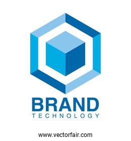 brand technology emblem with blue cube