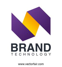 brand technology purple and yellow emblem