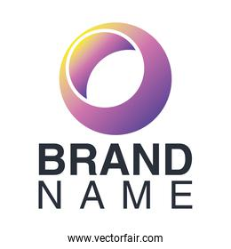 brand name emblem with purple circle