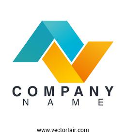 company name emblem with triangles crossed