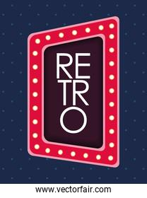 retro word in lights square figure frame