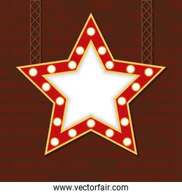 retro Light star figure frame in wall