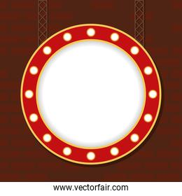 retro Light circle figure frame in wall
