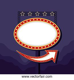 retro Light oval figure frame with stars in pole