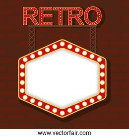 retro word and Light hexagon figure frame in wall