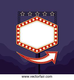 retro Light hexagon figure frame with stars in pole