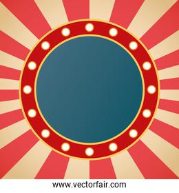 retro Light circle figure frame in striped background