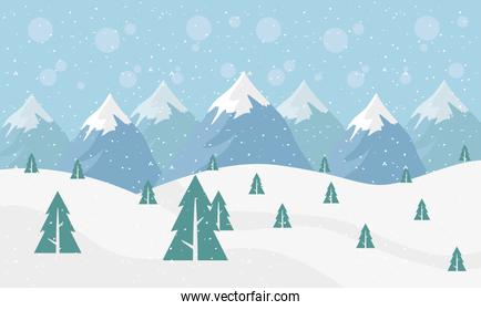 snow scape seasonal scene with pines and peaks