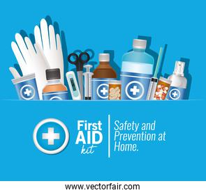 set of first AID icons on blue background