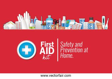 set of first AID icon on red background