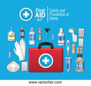 set of first AID icons over blue background