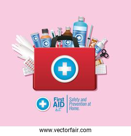 set of first AID icon on pink background