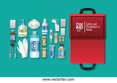 set of first AID icon on green background