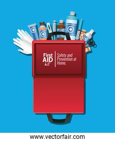 set of first AID icons over one empty package on blue background