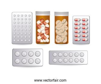 set of first AID pill chart icons on white background