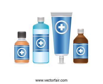 set of first AID disinfectant bottle and flu icons on white background