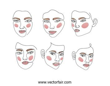 icons set of line women faces on a white background