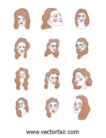 set of line women faces with brown hair