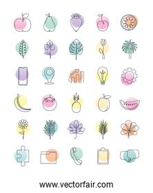 set icons one line style