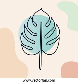 plant with stem, one line style in colors