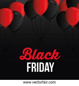 Black friday lettering with black and red ballons on a black background