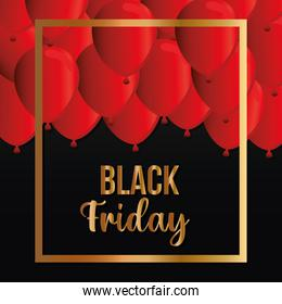 golden Black friday lettering with red balloons