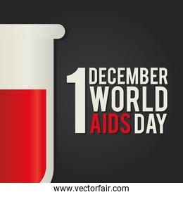 1 december world aids day lettering with a test tube
