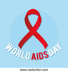 big red ribbon with world aids day lettering on a blue background