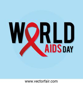 world aids day lettering with one ribbon on a blue background
