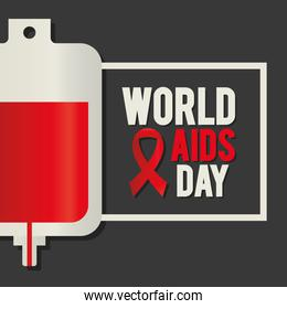 world aids day lettering with a blood bag and one ribbon on a square