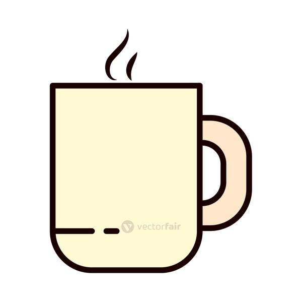 hot coffee mug icon, line and fill style