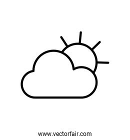 sun and cloud icon, line style