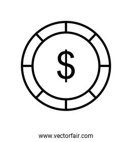 money coin icon, line style