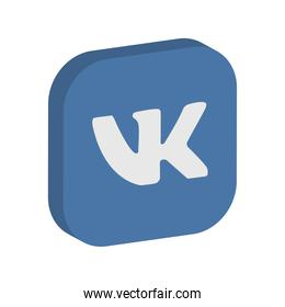 Vkontakte social network icon, isometric style