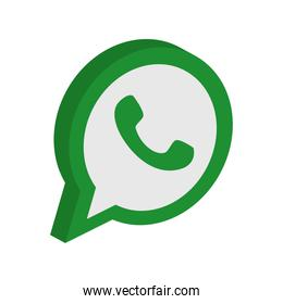 whats app instant messaging logo icon, isometric style