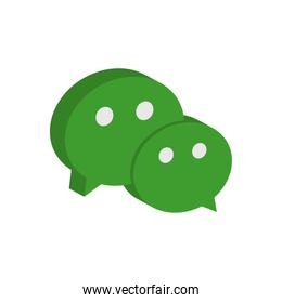 wechat instant messaging logo icon, isometric style