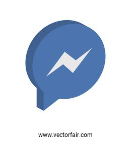 facebook messenger instant messaging logo icon, isometric style