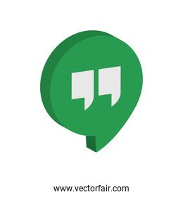 Google Hangouts social network logo icon, isometric style