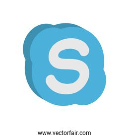 skype instant messaging logo icon, isometric style