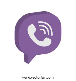 Viber instant messaging logo icon, isometric style
