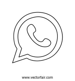 whats app instant messaging logo icon, line style