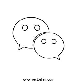 wechat instant messaging logo icon, line style