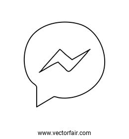 facebook messenger instant messaging logo icon, line style