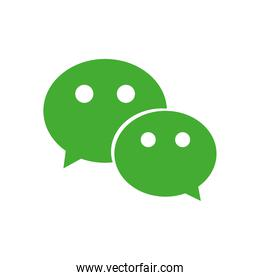 wechat instant messaging logo icon, flat style
