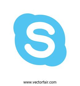skype instant messaging logo icon, flat style