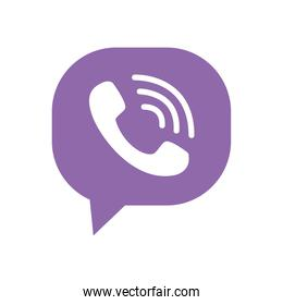 Viber instant messaging logo icon, flat style